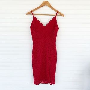 Chocolate USA Red Lace Sparkly Dress